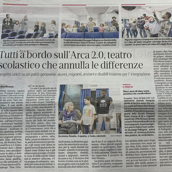 Genova – Bimbi, migranti e anziani a bordo dell'Arca 2.0